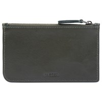 Jaeger Zip Top Leather Card Holder Olive