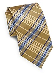 English Laundry Plaid Silk Tie Yellow