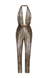 Elie Saab Sleeveless Straight Legged Embroidered Jumpsuit Gold