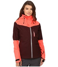 686 Glcr Soltice Thermagraph Jacket Black Ruby Color Block Women's Coat Red