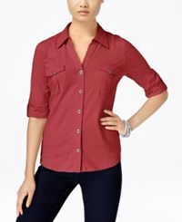 Styleandco. Style And Co. Roll Tab Button Down Shirt Only At Macy's Dark Rose