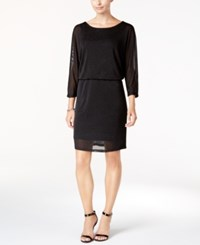 Nine West Metallic Blouson Sheath Dress Black