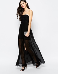 Aryn K Printed Strapless Maxi Dress Black