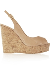 Jimmy Choo Prova Patent Leather And Cork Wedge Slingbacks