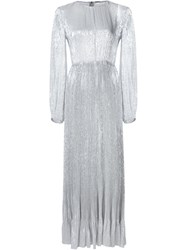 Adam By Adam Lippes Adam Lippes Metallic Pleated Gown Grey