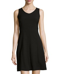 Marc New York By Andrew Marc Open Stitch Sleeveless A Line Dress Black