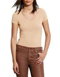 Lauren Ralph Lauren Petite Stretch Cotton Scoopneck Tee Tan