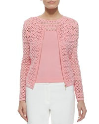 Escada Zip Front Sheer Mesh Cardigan X