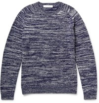 Orlebar Brown Marvin Elbow Patch Melange Knitted Wool Sweater Blue
