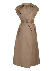 Helmut Lang Capped Sleeved Cotton And Linen Blend Trench Coat