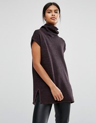 Vila Roll Neck Knitted Tunic Choc Multi Brown