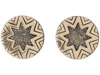 House Of Harlow Two Tone Engraved Sunburst Stud Gold Earring