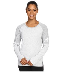Adidas Performer Cover Up Medium Grey Heather Mgh Solid Grey Matte Silver Women's Long Sleeve Pullover White