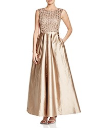 Aidan Mattox Beaded Bodice And Taffeta Skirt Gown Bronze