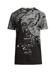 Jil Sander Map Print Short Sleeved T Shirt Black Multi