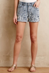 Pilcro Premium Paint Splatter Shorts Tinted Denim