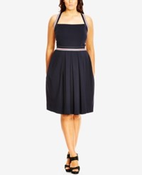 City Chic Plus Size Nautical Halter Fit And Flare Dress Navy
