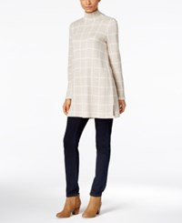 Styleandco. Style Co. Petite Windowpane Mock Neck Tunic Only At Macy's Heather Ivory