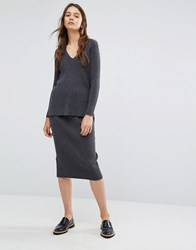 Paisie Ribbed Pencil Skirt With Back Split Co Ord Grey