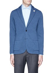 Lardini Wool Knit Soft Blazer Blue