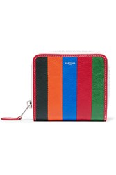 Balenciaga Bazar Striped Textured Leather Wallet Off White