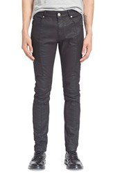 Men's Pierre Balmain Waxed Moto Jeans Black