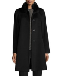 Fleurette Fox Trim Wool Button Front Coat Black