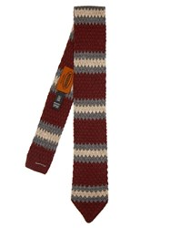Missoni Wool Knit Tie Burgundy Multi