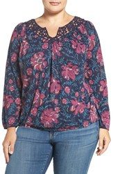 Lucky Brand Plus Size Women's 'Katie' Lace Yoke Floral Print Peasant Top Navy Multi