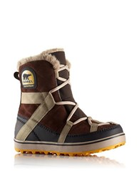 Sorel Glacy Explorer Waterproof Suede And Canvas Faux Fur Lined Ankle Boots Tobacco
