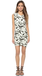 Pam And Gela Printed Ruched Dress Bird Print
