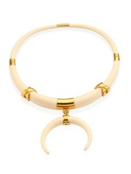 Tory Burch Oro Statement Collar Necklace Ivory Gold