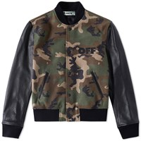 Off White Leather Bomber Jacket Green