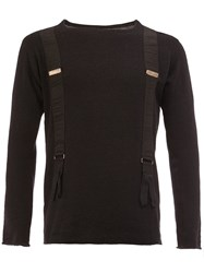 Greg Lauren Suspenders Effect Longsleeved T Shirt Black