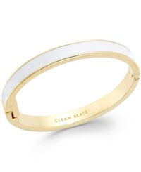 Kate Spade New York Gold Tone White Clean Slate Idiom Bangle Bracelet