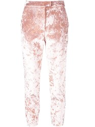 Msgm Crushed Velvet Trousers Pink Purple