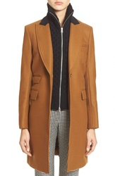 Veronica Beard 'Chesterfield' Wool Blend Coat With Removable Knit Dickey Camel Black