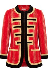 Givenchy Velvet Trimmed Jacket In Red And Gold Tweed