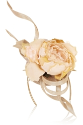 Philip Treacy Buntal Scroll And Rose Embellished Parisisal Headpiece