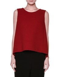 Marni Sleeveless Wool Crepe A Line Top Red