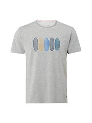 White Stuff Pattern Surfboards Graphic Tee Grey Marl