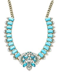 Abs By Allen Schwartz Gold Tone Blue Stone And Crystal Statement Necklace
