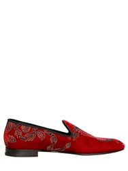 Max Verre Dragon Embroidered Velvet Loafers