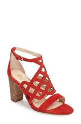 Isola Women's Despina Cutout Ankle Strap Sandal Lipstick Red Suede