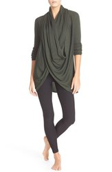 Nordstrom Women's Lingerie Long Wrap Cardigan Green Wood