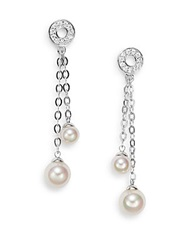 Majorica 6 8Mm White Round Pearl And Sterling Silver Double Drop Earrings