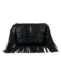 Saint Laurent Fringed Leather Pouch Black Silver