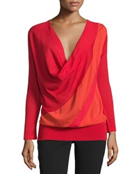 Cnc Costume National Long Sleeve Cowl Neck Blouse Red Women's