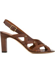 Michel Vivien 'Yuli' Low Heel Sandals Brown