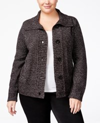 Karen Scott Plus Size Marled Cardigan Only At Macy's Deep White Marble